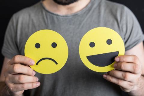 Glückliches und trauriges Emoji