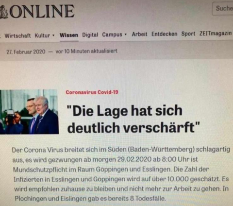 Gefälschter Online-Magazin-Artikel