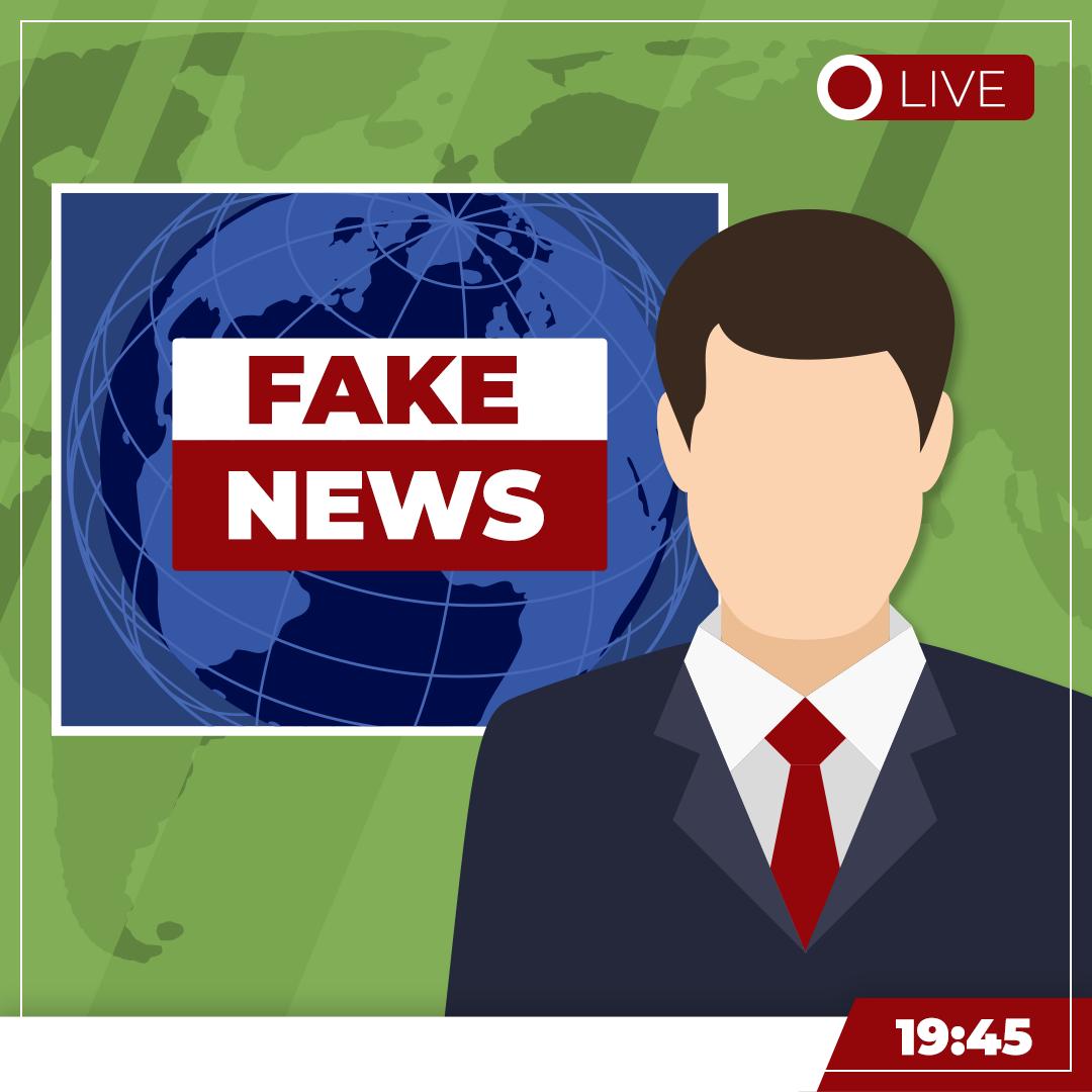 Illustration von einem Nachrichtensprecher in einem Fernsehstudio. Hinter ihm die Weltkugel, darauf groß Fake News geschrieben.