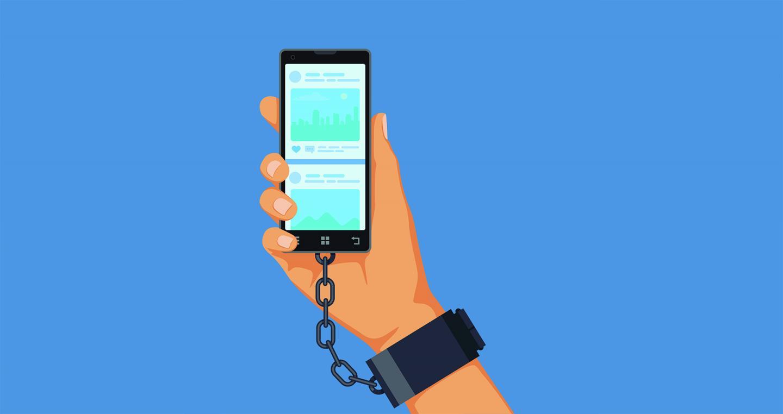 Illustration. Ein Smartphone ist an das Handgelenk einer Person gekettet. Es symbolisiert die Smartphone-Sucht.