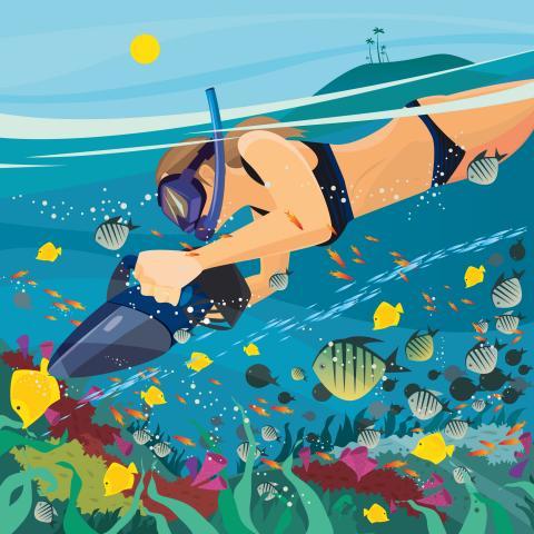 Illustration: Unterwasser taucht eine junge Frau im Bikini mit Schnorchel, Taucherbrille und Sea Scooter