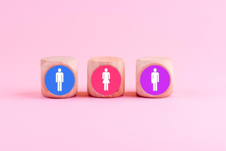 Holzwürfel bedruckt mit den Symbolen der drei Geschlechter.