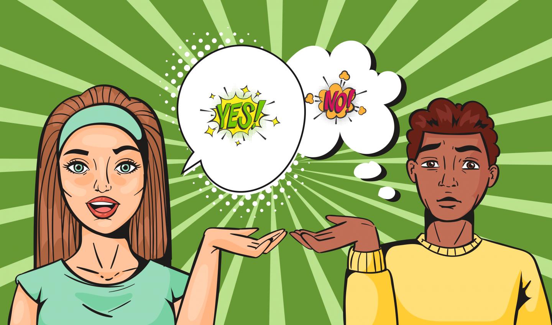 Illustration zweier Charaktere. Eine Sprechblase sagt Yes, die Gedankenblase sagt No.