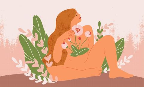Illustration von Frau mit Blumen, Symbol für Fruchtbarkeit