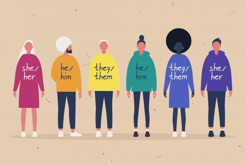 Grafik mit verschiedenen Menschen mit bunten Pullis, auf denen ihre selbstgewählten Pronomen stehen