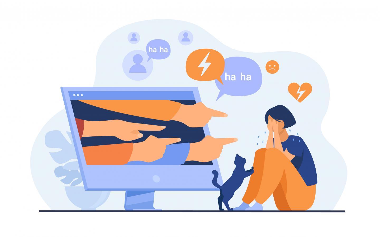 Illustration: Mädchen wird online gemobbt